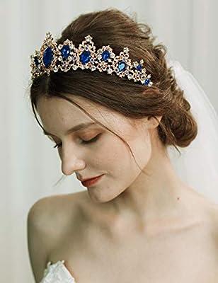 BABEYONDTiara de cristal para reina de cumpleaños con diamantes de imitación, corona de quinceañera, corona, corona de graduación, princesa, corona de novia, corona de boda, A-azul, 1.00[set de ]: Amazon.es: Belleza