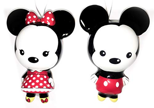 Mickey Mouse & Minnie Mouse Ornament Set - Bundle of 2 Disney Hallmark Decoupage Christmas Ornaments -