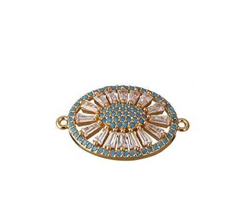 jennysun2010 Rectangle Gold Tone Turquoise Zircon Gemstones Pave Oval Bracelet Connector Charm Beads 2 Pcs per Bag for Necklace Earrings Jewelry Making Crafts - Oval Charm Turquoise