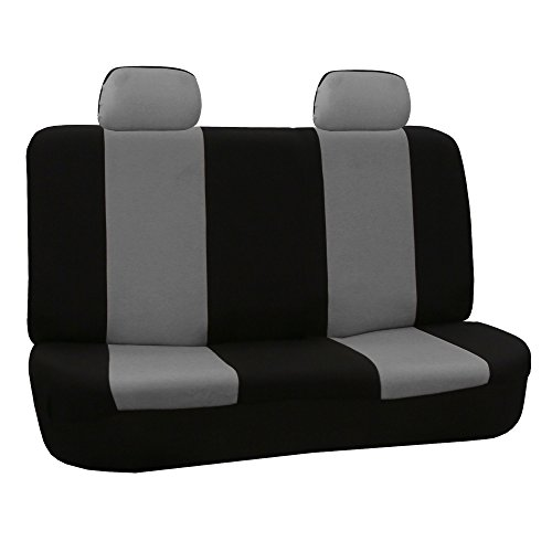 Fabric Rear Bench Jeep Seat - FH Group FB050GRAY012 Gray Fabric Bench Car Seat Cover with 2 Headrests