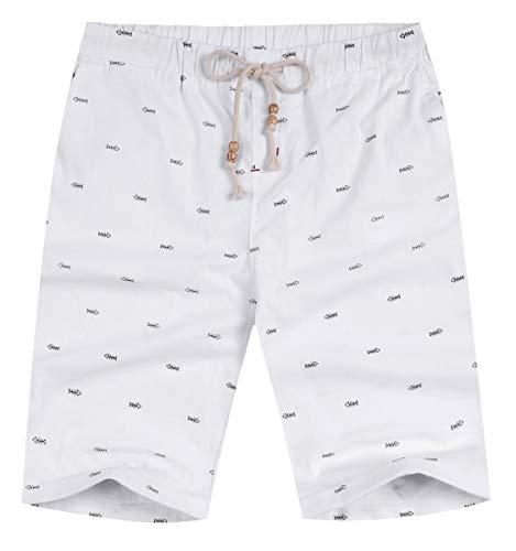 NITAGUT Men's Linen Casual Classic Fit Short (M(US 35-37), White Fish) ()