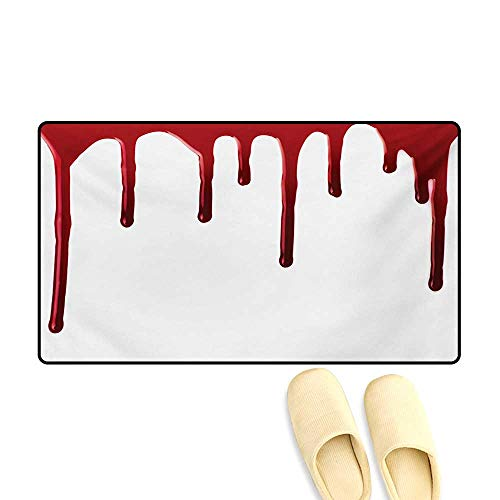 Door Mats,Flowing Blood Horror Spooky Halloween Zombie Crime Scary Help me Themed Illustration,Customize Bath Mat with Non Slip Backing,Red -