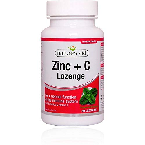 Rose Hip Lozenges - Natures Aid Zinc Lozenge (Peppermint) with Rosehip + Vitamin C 30 LOZ - 2 Pack