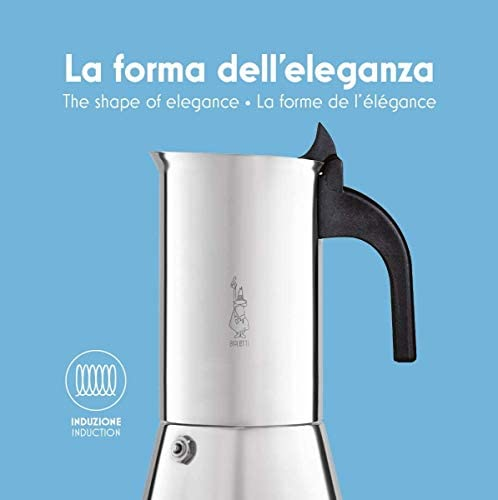 Bialetti 0001683 Cafetière italienne (Induction), Acier Inoxydable, Argent, 6 Tasses