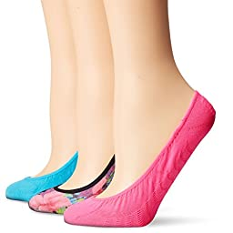 Sperry Top-Sider Women\'s 3 Pack Printed Micro Liner Socks, Assorted Black, 9-11