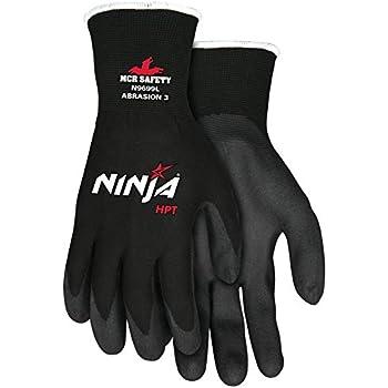 Memphis Glove N9699M Ninja HPT Nylon 15-Gauge Gloves with Dark Gray PVC Foam Sponge Coating, Black, Medium, 1-Pair