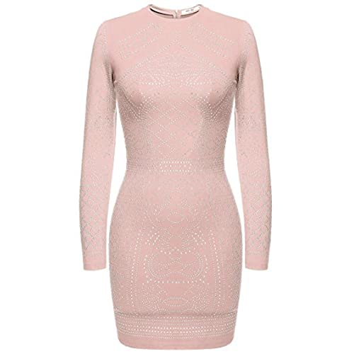 Meaneor Womens Long Sleeve Form Fitting Rhinestone Embellished Vintage Cocktail Dress (Pink XL)