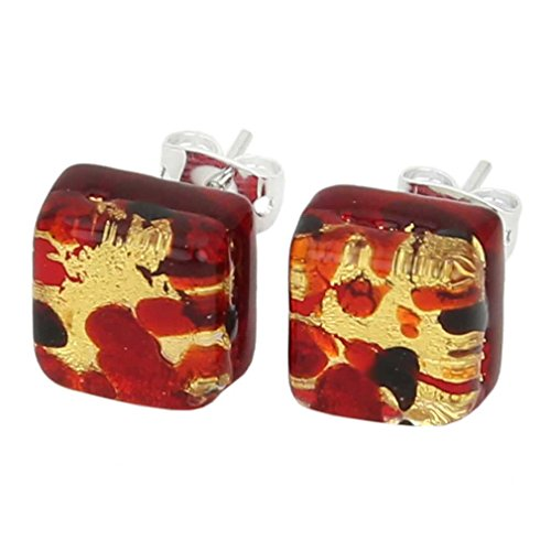 - GlassOfVenice Murano Glass Venetian Reflections Square Stud Earrings - Black Red