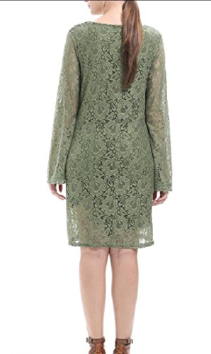V Plus Hollow Out Long Green Elegent Size Neck Women Comfy Sleeve Dresses Yq6Uww