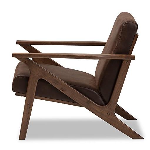 Farmhouse Accent Chairs Baxton Studio Bianca Mid-Century Modern Walnut Wood Dark Brown Distressed Faux Leather Lounge Chair Mid-Century/Dark… farmhouse accent chairs