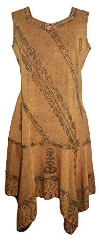 Agan Traders 1015 DR Gypsy Asymmetrical Dress (2X, Old Gold)