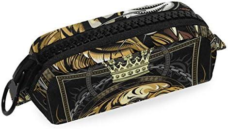Tiger - Estuche para lápices con diseño de corona con cremallera grande: Amazon.es: Oficina y papelería