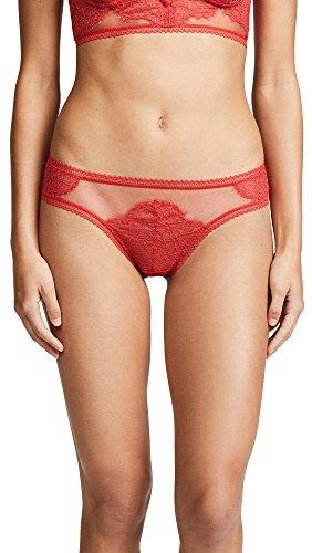 Thistle & Spire Women's Eyelash Lace Mirage Thong, Candy Apple, Medium