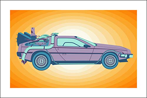 Plaid Design Back to The Future/Delorean (V1) Fine Art Print - 20x30 - Signed/Numbered Limited Edition Pop Art Giclée - Artwork by John Lathrop Ed Hand Numbered Fine Art