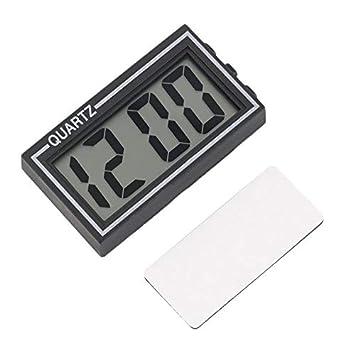 Pudincoco Negro Plástico Tamaño pequeño Pantalla LCD digital Tablero del coche Escritorio Fecha Hora Calendario Reloj pequeño con función de calendario ...