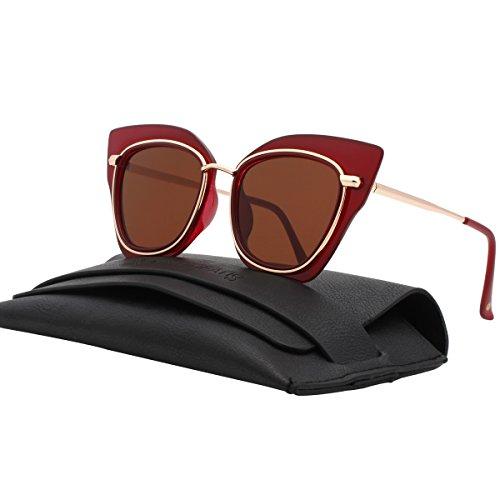 VIVIENFANG Women's Elegant Cat Eye Sunglasses Colored Mirror Lens Shades GP2195D - Burgundy Sunglasses