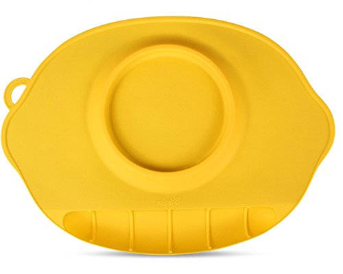 LLZJ Babies Silicone Suction Bowl Suction Stay Put Placemat Antidérapant Anti-Fall Toddler Training Feeding Dishes Tableware Children's Cutlery,Yellow by LLZJ
