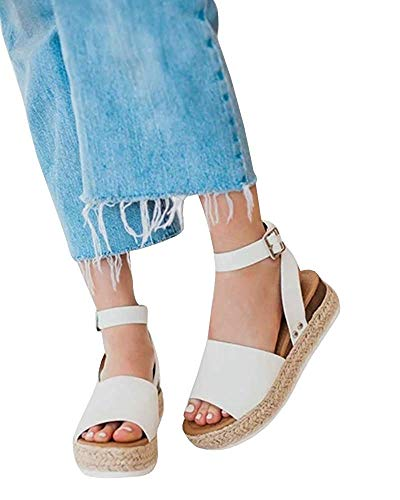 - Liyuandian Womens Open Toe Ankle Strap Buckle Sandals Trendy Espadrilles Platform Wedge Slingback Flats (8 M US, 1-White)