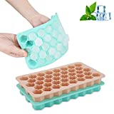Ice Cube Trays, Silicone Square Ice Cube Trays with Lid 38 Shaped Cubes Each, YBEMarket Easy-Release polar Mini Ice Cube Trays Cocktail Whiskey Ice Cube Mold with FDA and BPA Free(2 Pack)