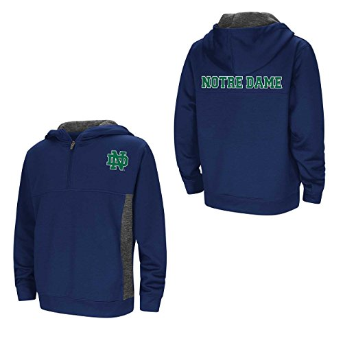 Colosseum Notre Dame Fighting Irish Youth NCAA Goon Docks 1/2 Zip Hooded Pullover - Navy, Youth Medium