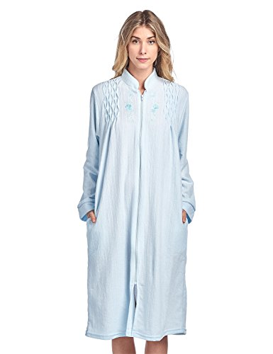 - Casual Nights Women's Zipper Front Jacquard Terry Fleece Robe Duster - Blue - Large