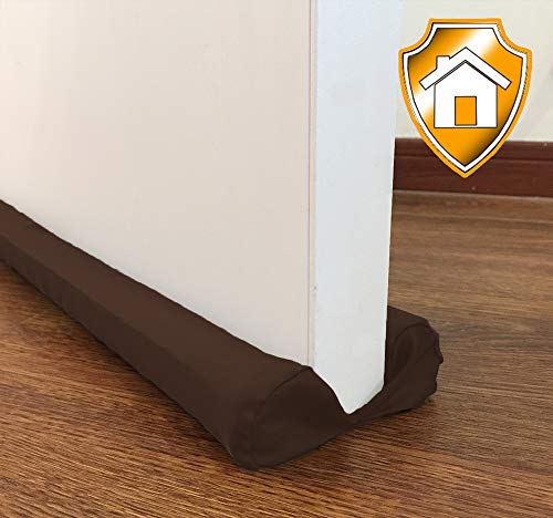 MAXTID Door Draft Stopper Brown Adjustable Double Sided Insulator Adjustable 32 to 38 inch Door Air Blocker for Bottom of Doors