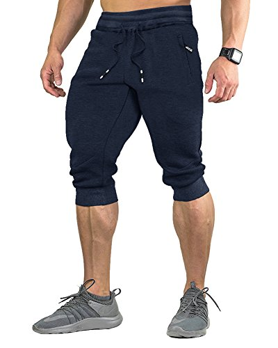 FASKUNOIE Workout Pants for Men Training Basketball 3/4 Long Shorts with Pockets Navy Blue ()