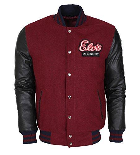 Leatherobe Elvis Presley in Concert Vintage Pop Star American Singer Varsity Jacket (M to fit Chest 42-43)