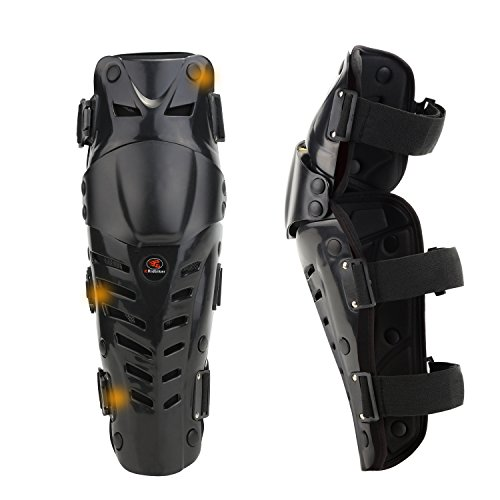 RIDBIKER 1 Pair of Movable Knee Shin Guard Pads Three Sections 2Pcs Breathable Adjustable Knee Cap Pads Protector Armor for Motorcycle Cycling Racing (Black) (Leg Armor Motorcycle)