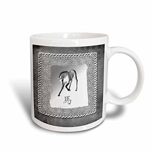 - 3dRose mug_167400_1 Bowing Horse, Chinese New Year, Silver Damask Design Ceramic Mug, 11-Ounce