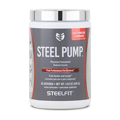 SteelFit, Steel Pump Physician Formulated Peak Performance Workout, Train Harder and Longer, 30 Servings (Watermelon Lemonade)