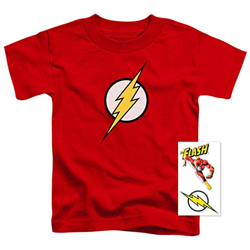 Youth Flash Lightning Bolt Logo T Shirt for Boys & Exclusive Stickers (Size 2T) -