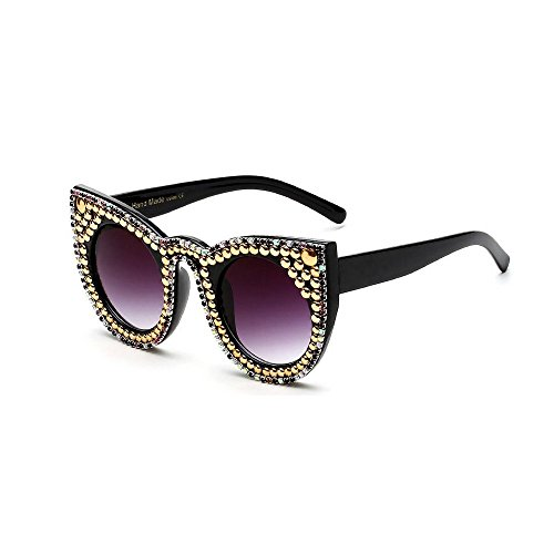 MINCL/Womens Sunglasses Diamond and White Pearls Decorated Eye Glasses-yhl (rivet-black, - End High Brands Eyeglasses