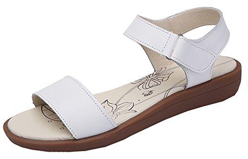 Bevalsa Sandales, Femmes Été Sandales Ladies Chaussures Plates Confortables Confortables en Cuir Sandales Blanc