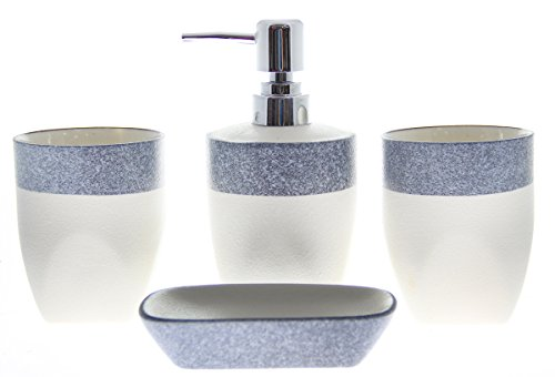 JustNile 4-Piece Ceramic Bathroom Accessory Set - White with