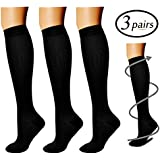 Compression Socks (3 Pairs), 15-20 mmHg is Best Athletic & Medical for Men & Women, Running, Flight, Travel, Nurses, Pregnant - Boost Performance, Blood Circulation & Recovery (Black, S/M)