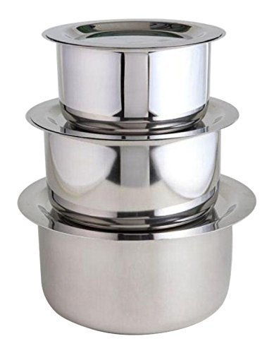 Jagani Steels Grade Stainless Steel Patila Flat Bottom Container Ganj Tapeli With Lid Set by Jagani Steels (Image #3)