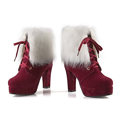 Top Snow Boots Womens Heels Low High Red BalaMasa PU Solid 0Ipqvw