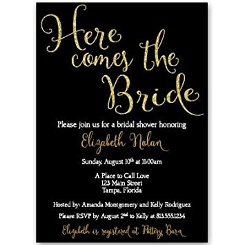 bridal shower invitations here comes the bride wedding shower invites black gold