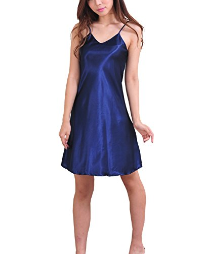 SexyTown Women's Satin Camisole Nightgown Classic Chemise Slip Sleepwear (X-Large, Dark Blue)