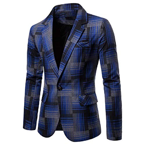 KASAAS Blazer for Men Plaid One Button Suit Long Sleeve Turn Down Collar Casual Simple Sport Jacket Tops(Medium,Blue) ()