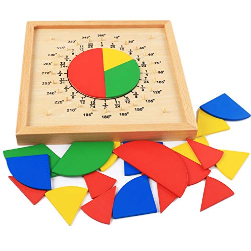 - Wooden Fraction Circles Board Montessori Teaching Aids Math Game Manipulatives for Preschooler Educational Toys