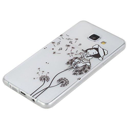 Funda Carcasa Transparente Silicona para Samsung Galaxy A3 2016 Version/A310F[con Gratis Pantalla Protector],CaseHome Único Patrón de Colores Diseño Cristal Claro Ultra Delgado Suave Durable Caucho Pa Niña Dientes de León