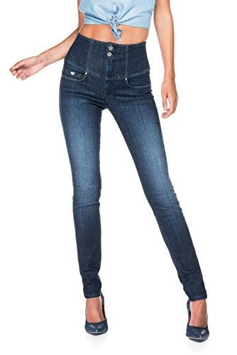 SALSA Pantalón Diva muy alto de cintura de denim oscuro y desgastados Azul