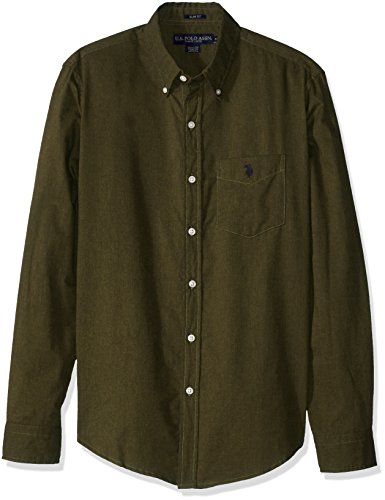 U.S. Polo Assn. Mens Slim Fit Brushed Twill Button Down Collar Solid Woven Shirt