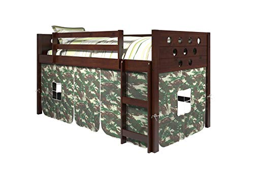 DONCO KIDS Circles Low Loft Bed with Camo Tent, Twin, Dark Cappuccino