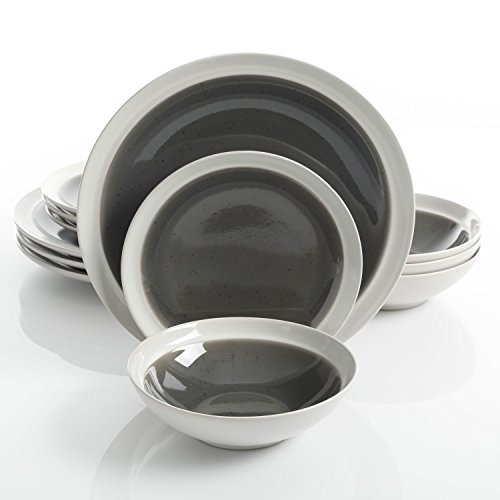 Gibson Elite 114379.12RM Clementine 12-Piece Reactive Glaze Dinnerware Set Service for 4, Grey