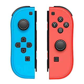 JoyCon Controller for Nintendo Switch with Wrist Straps,Switch Joy Con Controller Replacement Support Wake-up Function (Red and Blue)