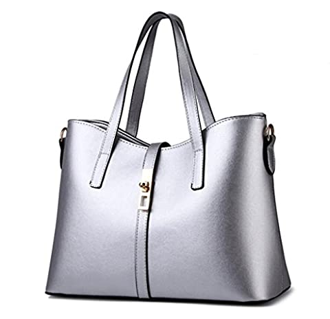 YouNuo Womens Candy Colors PU Leather Top-Handle Handbag Office Lady Tote Bags with Zipper Lock Closure