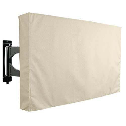 Outdoor TV Cover, Beige Weatherproof Universal Protector for 50'' - 52'' LCD, LED, Plasma Television Sets - Compatible with Standard Mounts and Stands. Built In Remote Controller Storage Pocket
